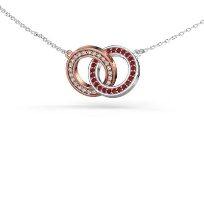 Picture of Necklace Circles 2 585 rose gold ruby 1 mm