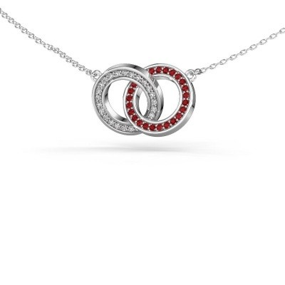 Picture of Necklace Circles 2 925 silver ruby 1 mm