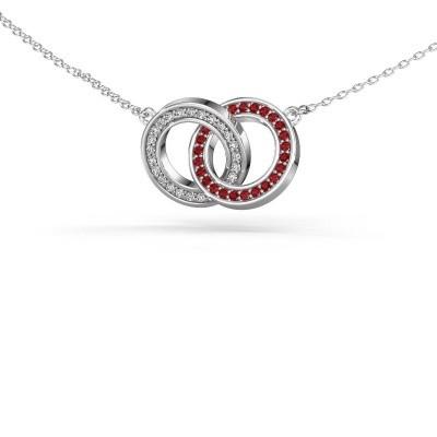 Foto van Halsketting Circles 2 925 zilver robijn 1 mm