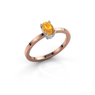 Foto van Ring Lynelle 1 585 rosé goud citrien 6x4 mm