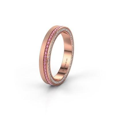 Trouwring WH2214L15BM 585 rosé goud roze saffier 1 mm ±5x2 mm