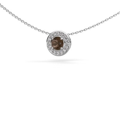 Picture of Pendant Agaat 585 white gold smokey quartz 5 mm