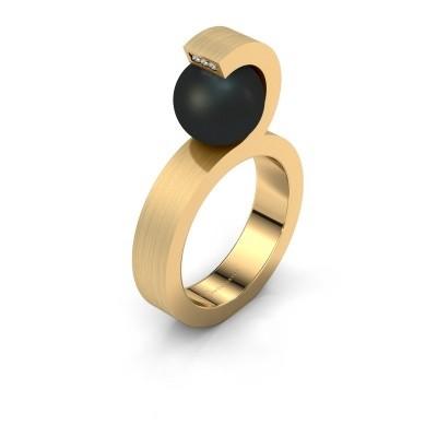 Foto van Ring Juana 375 goud zwarte parel 9 mm