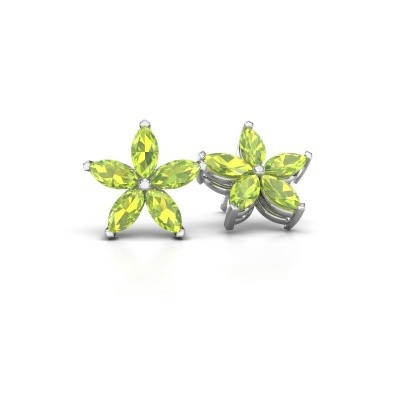 Picture of Stud earrings Sylvana 925 silver peridot 5x2.5 mm