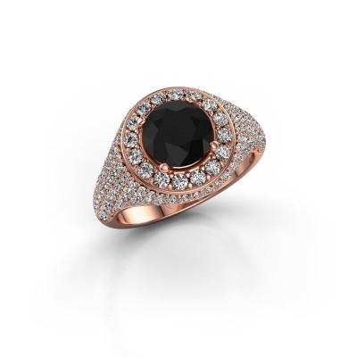 Foto van Ring Dayle 375 rosé goud zwarte diamant 2.723 crt