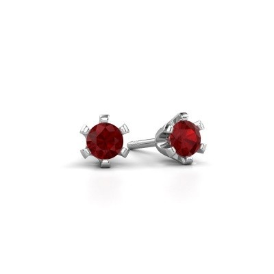 Stud earrings Shana 585 white gold ruby 4 mm