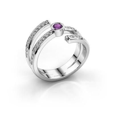 Ring Selena 2 585 witgoud amethist 3 mm