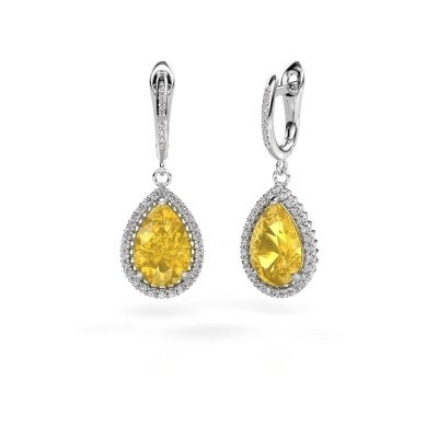 Picture of Drop earrings Hana 2 950 platinum yellow sapphire 12x8 mm