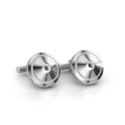 Foto van Manchetknopen Demian 925 zilver smaragd 2.2 mm