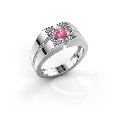 Foto van Herenring Thijmen 950 platina roze saffier 5 mm