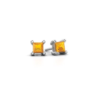 Picture of Stud earrings Sam square 925 silver citrin 4 mm