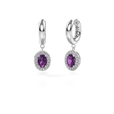 Picture of Drop earrings Annett 950 platinum amethyst 7x5 mm