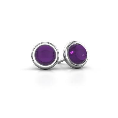 Picture of Stud earrings Jodi 925 silver amethyst 6 mm