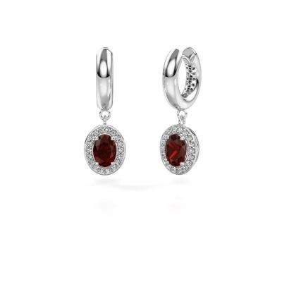 Picture of Drop earrings Annett 950 platinum garnet 7x5 mm