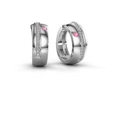 Picture of Hoop earrings Shakita 925 silver pink sapphire 2 mm