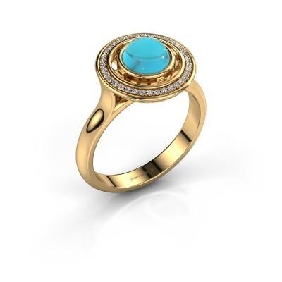 Foto van Ring Salima 585 goud blauw topaas 6 mm