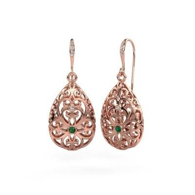 Picture of Drop earrings Idalia 2 375 rose gold emerald 2 mm