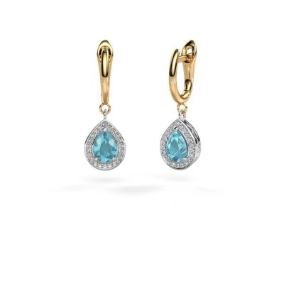 Picture of Drop earrings Ginger 1 585 white gold blue topaz 7x5 mm