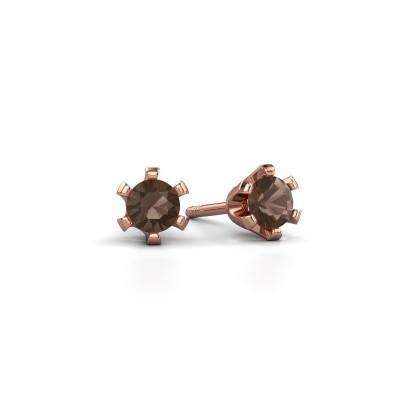 Picture of Stud earrings Shana 585 rose gold smokey quartz 4 mm