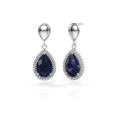 Picture of Drop earrings Cheree 1 950 platinum sapphire 12x8 mm