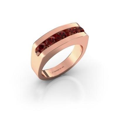 Foto van Heren ring Richard 585 rosé goud granaat 4 mm