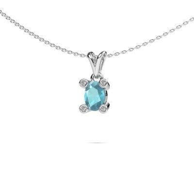 Picture of Necklace Cornelia Oval 950 platinum blue topaz 7x5 mm