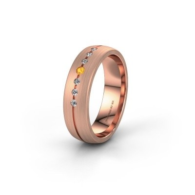 Trouwring WH0162L25A 585 rosé goud citrien ±5x1.7 mm