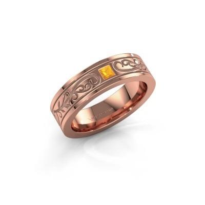 Foto van Heren ring Matijs 375 rosé goud citrien 3 mm