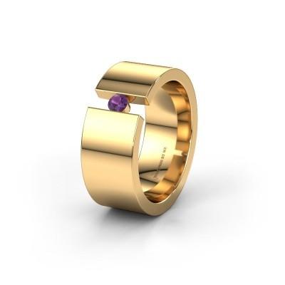 Trouwring WH0146L18BP 375 goud amethist ±8x2 mm