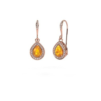 Picture of Drop earrings Beverlee 2 375 rose gold citrin 7x5 mm