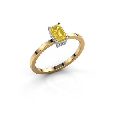 Foto van Verlovingsring Denita 1 585 goud gele saffier 6x4 mm