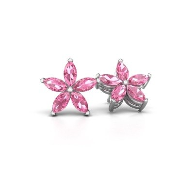 Picture of Stud earrings Sylvana 925 silver pink sapphire 5x2.5 mm