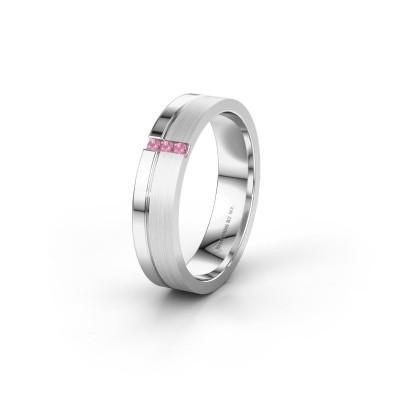 Trouwring WH0157L14XPM 950 platina roze saffier ±4x1.4 mm