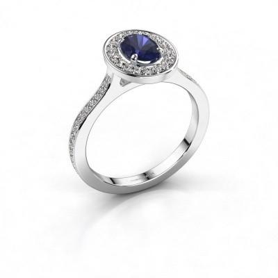 Foto van Ring Madelon 2 925 zilver saffier 7x5 mm