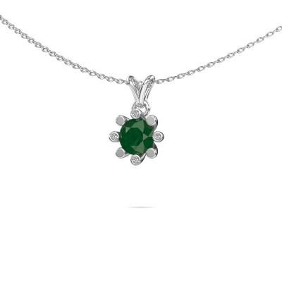 Foto van Hanger Carola 2 925 zilver smaragd 6 mm