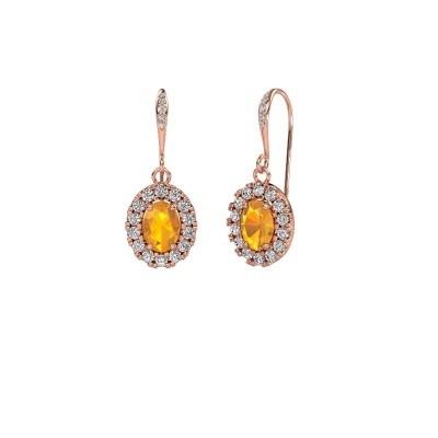 Picture of Drop earrings Jorinda 2 375 rose gold citrin 7x5 mm