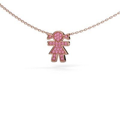 Picture of Necklace Girl 375 rose gold pink sapphire 1 mm