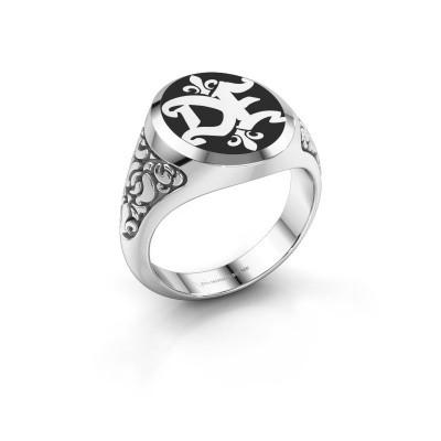 Foto van Monogram ring Brian Emaille 925 zilver zwarte emaille