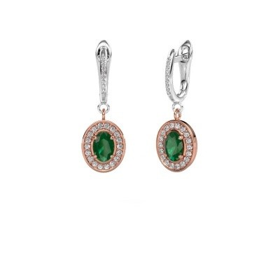 Picture of Drop earrings Layne 2 585 rose gold emerald 7x5 mm