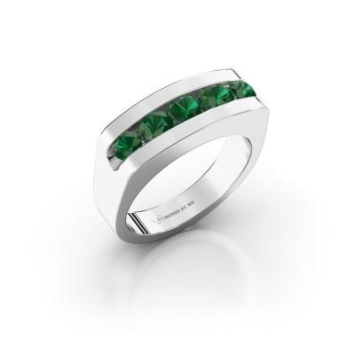 Foto van Heren ring Richard 925 zilver smaragd 4 mm