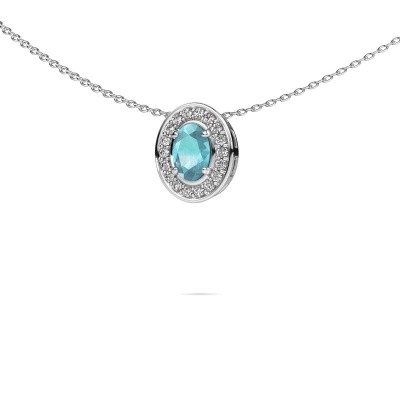 Picture of Necklace Madelon 585 white gold blue topaz 6x4 mm