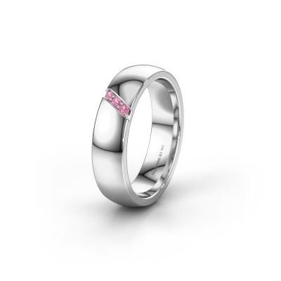 Trouwring WH0174L25BP 585 witgoud roze saffier ±5x2 mm