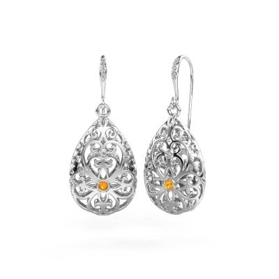 Picture of Drop earrings Idalia 2 585 white gold citrin 2 mm