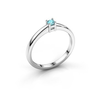 Foto van Promise ring Eline 1 950 platina blauw topaas 3 mm