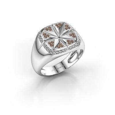 Foto van Heren ring Ravi 950 platina bruine diamant 0.35 crt