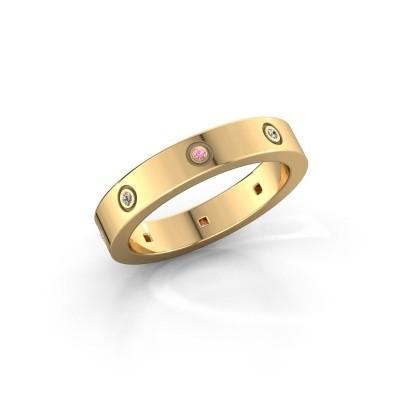Foto van Ring Carrie 4 375 goud roze saffier 1.1 mm