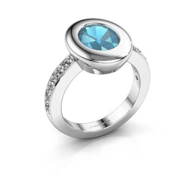Ring Selene 2 585 witgoud blauw topaas 9x7 mm