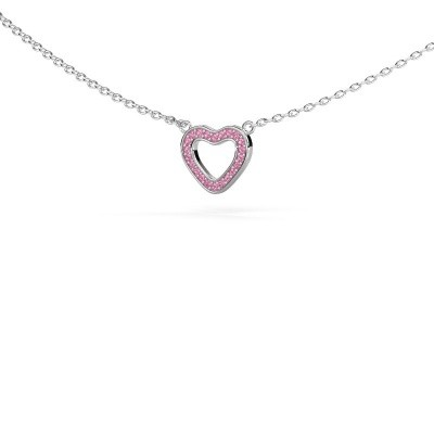 Picture of Pendant Heart 4 585 white gold pink sapphire 0.8 mm