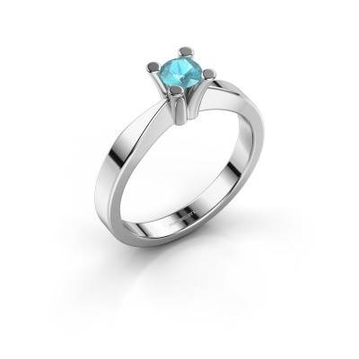 Foto van Verlovingsring Ichelle 1 925 zilver blauw topaas 4.2 mm