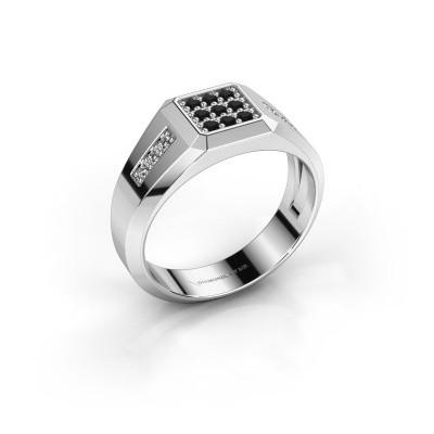 Foto van Pinkring Bas 925 zilver zwarte diamant 0.336 crt